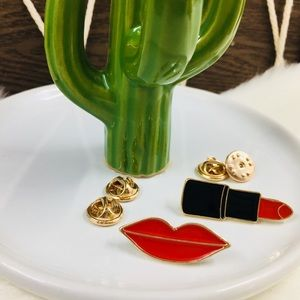 2pcs Lips & Lipstick Pin Set